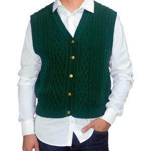 "VINTAGE ""Karen Scott"" Knit Green Sweater Vest"